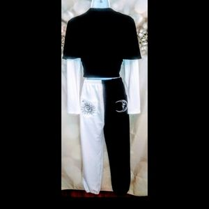 moon&sun black and white sweat suit.